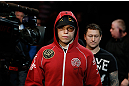 MONTREAL, QC - MARCH 16:  enters the arena before his welterweight bout against Quinn Mulhern during the UFC 158 event at Bell Centre on March 16, 2013 in Montreal, Quebec, Canada.  (Photo by Josh Hedges/Zuffa LLC/Zuffa LLC via Getty Images)