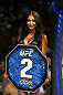 MONTREAL, QC - MARCH 16: UFC Octagon Girl Arianny Celeste introduces a round during the UFC 158 event at Bell Centre on March 16, 2013 in Montreal, Quebec, Canada.  (Photo by Jonathan Ferrey/Zuffa LLC/Zuffa LLC via Getty Images)