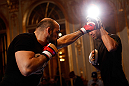 STOCKHOLM, SWEDEN - APRIL 03:  Ilir Latifi of Sweden conducts an open training session at the Grand Hotel on April 3, 2013 in Stockholm, Sweden.  (Photo by Josh Hedges/Zuffa LLC/Zuffa LLC via Getty Images)