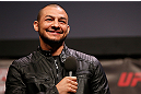 STOCKHOLM, SWEDEN - APRIL 05:  Cub Swanson interacts with fans during a Q&A session before the UFC weigh-in at the Ericsson Globe Arena on April 5, 2013 in Stockholm, Sweden.  (Photo by Josh Hedges/Zuffa LLC/Zuffa LLC via Getty Images)