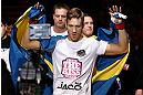 STOCKHOLM, SWEDEN - APRIL 06:  Chris Spang of Sweden enters the arena before his welterweight fight against Adlan Amagov at the Ericsson Globe Arena on April 6, 2013 in Stockholm, Sweden.  (Photo by Josh Hedges/Zuffa LLC/Zuffa LLC via Getty Images)