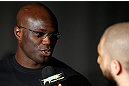 NEW YORK, NY - APRIL 25:   Cheick Kongo interacts with media during UFC 159 media day at The Theater at Madison Square Garden on April 25, 2013 in New York City.  (Photo by Josh Hedges/Zuffa LLC/Zuffa LLC via Getty Images)