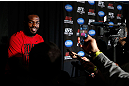 "NEW YORK, NY - APRIL 25:   UFC Light Heavyweight Champion Jon ""Bones"" Jones interacts with media during UFC 159 media day at The Theater at Madison Square Garden on April 25, 2013 in New York City.  (Photo by Josh Hedges/Zuffa LLC/Zuffa LLC via Getty Images)"
