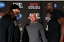 NEW YORK, NY - APRIL 25:   (L-R) Opponents Roy Nelson and Cheick Kongo face off during UFC 159 media day at The Theater at Madison Square Garden on April 25, 2013 in New York City.  (Photo by Josh Hedges/Zuffa LLC/Zuffa LLC via Getty Images)