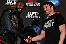 "NEW YORK, NY - APRIL 25:   (L-R) Opponents UFC Light Heavyweight Champion Jon ""Bones"" Jones and Chael Sonnen shake hands during UFC 159 media day at The Theater at Madison Square Garden on April 25, 2013 in New York City.  (Photo by Josh Hedges/Zuffa LLC/Zuffa LLC via Getty Images)"