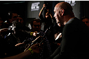 NEW YORK, NY - APRIL 25:   UFC President Dana White interacts with media during UFC 159 media day at The Theater at Madison Square Garden on April 25, 2013 in New York City.  (Photo by Josh Hedges/Zuffa LLC/Zuffa LLC via Getty Images)