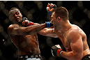 NEWARK, NJ - APRIL 27:   (R-L) Gian Villante punches Ovince Saint Preux in their light heavyweight fight during the UFC 159 event at the Prudential Center on April 27, 2013 in Newark, New Jersey.  (Photo by Josh Hedges/Zuffa LLC/Zuffa LLC via Getty Images)