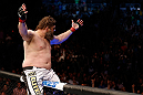 NEWARK, NJ - APRIL 27:   Roy Nelson reacts after his knockout victory over Cheick Kongo in their heavyweight fight during the UFC 159 event at the Prudential Center on April 27, 2013 in Newark, New Jersey.  (Photo by Josh Hedges/Zuffa LLC/Zuffa LLC via Getty Images)