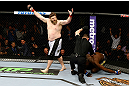 NEWARK, NJ - APRIL 27:  Roy Nelson (L) celebrates his win by knockout against Cheick Kongo (R) of France in their heavyweight bout during the UFC 159 event at the Prudential Center on April 27, 2013 in Newark, New Jersey.  (Photo by Al Bello/Zuffa LLC/Zuffa LLC Via Getty Images)