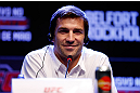 JARAGUA DO SUL, BRAZIL - MAY 16:   Luke Rockhold interacts with media during media day for the UFC on FX event on May 16, 2013 at the Sociedade Cultura Artistica in Jaragua do Sul, Santa Catarina, Brazil.  (Photo by Josh Hedges/Zuffa LLC/Zuffa LLC via Getty Images)