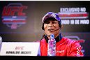 "JARAGUA DO SUL, BRAZIL - MAY 16:   Ronaldo ""Jacare"" Souza interacts with media during media day for the UFC on FX event on May 16, 2013 at the Sociedade Cultura Artistica in Jaragua do Sul, Santa Catarina, Brazil.  (Photo by Josh Hedges/Zuffa LLC/Zuffa LLC via Getty Images)"