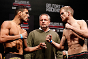 JARAGUA DO SUL, BRAZIL - MAY 17: (L-R) Opponents Rafael dos Anjos and Evan Dunham face off during the UFC on FX weigh-in on May 17, 2013 at the Arena Jaragua in Jaragua do Sul, Santa Catarina, Brazil. (Photo by Josh Hedges/Zuffa LLC/Zuffa LLC via Getty Images)