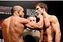 JARAGUA DO SUL, BRAZIL - MAY 17: (L-R) Opponents Vitor Belfort and Luke Rockhold face off during the UFC on FX weigh-in on May 17, 2013 at the Arena Jaragua in Jaragua do Sul, Santa Catarina, Brazil. (Photo by Josh Hedges/Zuffa LLC/Zuffa LLC via Getty Images)
