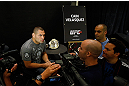 LAS VEGAS, NV - MAY 23:   UFC Heavyweight Champion Cain Velasquez interacts with media during the UFC 160 Ultimate Media Day at the MGM Grand Hotel/Casino on May 23, 2013 in Las Vegas, Nevada.  (Photo by Josh Hedges/Zuffa LLC/Zuffa LLC via Getty Images)