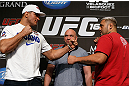 "LAS VEGAS, NV - MAY 23:   (L-R) Opponents Junior ""Cigano"" dos Santos and Mark Hunt face off during the UFC 160 Ultimate Media Day at the MGM Grand Hotel/Casino on May 23, 2013 in Las Vegas, Nevada.  (Photo by Josh Hedges/Zuffa LLC/Zuffa LLC via Getty Images)"