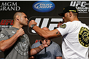 "LAS VEGAS, NV - MAY 23:   (L-R) Opponents Cain Velasquez and Antonio ""Bigfoot"" Silva face off during the UFC 160 Ultimate Media Day at the MGM Grand Hotel/Casino on May 23, 2013 in Las Vegas, Nevada.  (Photo by Josh Hedges/Zuffa LLC/Zuffa LLC via Getty Images)"