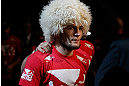 LAS VEGAS, NV - MAY 25:   Khabib Nurmagomedov walks to the Octagon to face Abel Trujillo in their lightweight bout during UFC 160 at the MGM Grand Garden Arena on May 25, 2013 in Las Vegas, Nevada.  (Photo by Josh Hedges/Zuffa LLC/Zuffa LLC via Getty Images)  *** Local Caption *** Khabib Nurmagomedov; Abel Trujillo