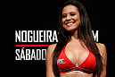 FORTALEZA, BRAZIL - JUNE 07:  UFC Octagon Girl Camila Rodrigues de Oliveira during the UFC weigh-in at Paulo Sarasate Arena on June 7, 2013 in Fortaleza, Ceara, Brazil.  (Photo by Josh Hedges/Zuffa LLC/Zuffa LLC via Getty Images)