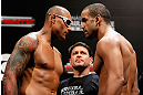 "FORTALEZA, BRAZIL - JUNE 07:  (L-R) Opponents Thiago Silva and Rafael ""Feijao"" Cavalcante face off during the UFC weigh-in at Paulo Sarasate Arena on June 7, 2013 in Fortaleza, Ceara, Brazil.  (Photo by Josh Hedges/Zuffa LLC/Zuffa LLC via Getty Images)"