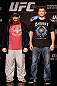 WINNIPEG, CANADA - JUNE 13:  (L-R) Opponents Roy Nelson and Stipe Miocic pose for photos during the UFC 161 media day at The Met on June 13, 2013 in Winnipeg, Manitoba, Canada.  (Photo by Josh Hedges/Zuffa LLC/Zuffa LLC via Getty Images)