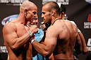 WINNIPEG, CANADA - JUNE 14:  (L-R) Opponents Ryan Jimmo and Igor Pokrajac face off during the UFC 161 weigh-in at the MTS Centre on June 14, 2013 in Winnipeg, Manitoba, Canada.  (Photo by Josh Hedges/Zuffa LLC/Zuffa LLC via Getty Images)
