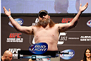 "WINNIPEG, CANADA - JUNE 14:  ""Big Country"" Roy Nelson weighs in during the UFC 161 weigh-in at the MTS Centre on June 14, 2013 in Winnipeg, Manitoba, Canada.  (Photo by Josh Hedges/Zuffa LLC/Zuffa LLC via Getty Images)"