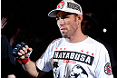 WINNIPEG, CANADA - JUNE 15:  Jake Shields enters the arena before his welterweight fight against Tyron Woodley during the UFC 161 event at the MTS Centre on June 15, 2013 in Winnipeg, Manitoba, Canada.  (Photo by Josh Hedges/Zuffa LLC/Zuffa LLC via Getty Images)