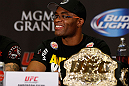 LAS VEGAS, NV - JULY 04:  UFC Middleweight Champion Anderson Silva interacts with media during the final UFC 162 press conference at the MGM Grand Hotel/Casino on July 4, 2013 in Las Vegas, Nevada.  (Photo by Josh Hedges/Zuffa LLC/Zuffa LLC via Getty Images)