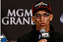 LAS VEGAS, NV - JULY 04:  Charles Oliveira interacts with media during the final UFC 162 press conference at the MGM Grand Hotel/Casino on July 4, 2013 in Las Vegas, Nevada.  (Photo by Josh Hedges/Zuffa LLC/Zuffa LLC via Getty Images)