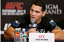 LAS VEGAS, NV - JULY 04:  Chris Weidman interacts with media during the final UFC 162 press conference at the MGM Grand Hotel/Casino on July 4, 2013 in Las Vegas, Nevada.  (Photo by Josh Hedges/Zuffa LLC/Zuffa LLC via Getty Images)
