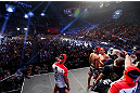 LAS VEGAS, NV - JULY 05:  A general view of the arena as opponents Charles Oliveira and Frankie Edgar face off during the UFC 162 weigh-in at the Mandalay Bay Events Center on July 5, 2013 in Las Vegas, Nevada.  (Photo by Josh Hedges/Zuffa LLC/Zuffa LLC via Getty Images)