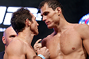 LAS VEGAS, NV - JULY 05:  (L-R) Opponents Tim Kennedy and Roger Gracie face off during the UFC 162 weigh-in at the Mandalay Bay Events Center on July 5, 2013 in Las Vegas, Nevada.  (Photo by Josh Hedges/Zuffa LLC/Zuffa LLC via Getty Images)