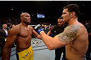 LAS VEGAS, NV - JULY 06:  (L-R) Anderson Silva and Chris Weidman speak after their UFC middleweight championship fight during the UFC 162 event inside the MGM Grand Garden Arena on July 6, 2013 in Las Vegas, Nevada.  (Photo by Donald Miralle/Zuffa LLC/Zuffa LLC via Getty Images) *** Local Caption *** Anderson Silva; Chris Weidman