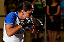 SEATTLE, WA - JULY 24: Jessica Andrade conducts an open training session for fans and media at the Seattle Center Pavilion on July 24, 2013 in Seattle, Washington. (Photo by Josh Hedges/Zuffa LLC/Zuffa LLC via Getty Images)