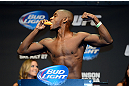 SEATTLE, WA - JULY 26:  Yves Edwards eats a Twinkie while weighing in during the official UFC on FOX weigh-in at Key Arena on July 26, 2013 in Seattle, Washington.  (Photo by Jeff Bottari/Zuffa LLC/Zuffa LLC via Getty Images)