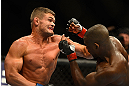 SEATTLE, WA - JULY 27:  (L-R) Daron Cruickshank punches Yves Edwards in their lightweight bout during the UFC on FOX event at Key Arena on July 27, 2013 in Seattle, Washington. (Photo by Jeff Bottari/Zuffa LLC/Zuffa LLC via Getty Images) *** Local Caption *** Yves Edwards; Daron Cruickshank