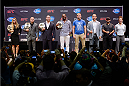 LOS ANGELES, CA - JULY 30:  (L-R) UFC president Dana White (not pictured) hosts a press conference live with UFC women's bantamweight champion Ronda Rousey, UFC welterweight champion Georges St-Pierre, UFC heavyweight champion Cain Valasquez, UFC light heavyweight champion Jon Jones, Alexander Gustafsson, Junior Dos Santos, Johny Hendricks and Miesha Tate during the UFC World Tour 2013 at Club Nokia at L.A. Live on July 30, 2013 in Los Angeles, California.  (Photo by Jeff Bottari/Zuffa LLC/Zuffa LLC via Getty Images)