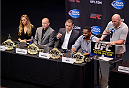 LOS ANGELES, CA - JULY 30:  (R-L) UFC president Dana White hosts a press conference live with UFC light heavyweight champion Jon Jones, UFC heavyweight champion Cain Valasquez, UFC welterweight champion Georges St-Pierre and UFC women's bantamweight champion Ronda Rousey during the UFC World Tour 2013 at Club Nokia at L.A. Live on July 30, 2013 in Los Angeles, California.  (Photo by Jeff Bottari/Zuffa LLC/Zuffa LLC via Getty Images)