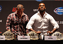 NEW YORK, NY - JULY 31:  (L-R) UFC heavyweight champion Cain Velasquez and UFC light heavyweight champion Jon Jones interact during a press conference at Beacon Theatre on July 31, 2013 in New York City.  (Photo by Mike Stobe/Zuffa LLC/Zuffa LLC via Getty Images)