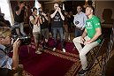 STOCKHOLM, SWEDEN - AUGUST 01:  Alexander Gustafsson of Sweden (R) attends a UFC press tour event with Jon Jones of USA (not pictured) on August 01, 2013 in Stockholm, Sweden.  (Photo by Gustav Martensson/Zuffa LLC/Zuffa LLC via Getty Images)