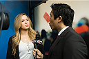 BRISTOL, CT - AUGUST 1: UFC bantamweight champion Ronda Rousey is interviewed by ESPN.com anchor Cary Chow at ESPN's headquarters August 1, 2013, in Bristol, Connecticut. Rousey will fight  Miesha Tate in Decmeber in a title bout. The two were interviewed on Sportscenter, by ESPN.com, by ESPN W, on the Dan Lebatard Show, and on ESPN Deportes. (Photo by Christopher Capozziello/Zuffa LLC via Getty Images).