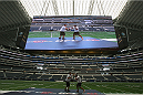 ARLINGTON, TX - AUGUST 02:  UFC fighter Johny Hendricks during a UFC World Tour open workout ahead of a UFC Welterweight Title fight at the AT&T Stadium on August 2, 2013 in Arlington, Texas.  Georges St-Pierre and Johny Hendricks will fight on November 16 in Las Vegas, Nevada.  (Photo by Ronald Martinez/Zuffa LLC/Zuffa LLC via Getty Images)