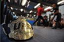 LONDON, ENGLAND - AUGUST 02:  The UFC title belt on the floor as Jon Jones trains at Stars Gym during the Jon Jones and Alex Gustafsson Press Tour on August 2, 2013 in London, England.  (Photo by Christoper Lee/Zuffa LLC/Zuffa LLC via Getty Images)