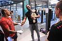 LONDON, ENGLAND - AUGUST 02:  Jon Jones (R) shares a joke with Richie J Edwards as he trains at Stars Gym during the Jon Jones and Alex Gustafsson Press Tour on August 2, 2013 in London, England.  (Photo by Christoper Lee/Zuffa LLC/Zuffa LLC via Getty Images)