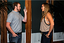 CHICAGO, IL - AUGUST 02:  UFC women's bantamweight champion Ronda Rousey (R) talks with the media during the Ronda Rousey and Miesha Tate Press Tour on August 2, 2013 in Chicago, Illinois.   (Photo by David Banks/Zuffa LLC/Zuffa LLC via Getty Images)