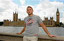 LONDON, ENGLAND - AUGUST 03:  Alex Gustafsson poses for the camera with the Houses of Parliament in the background during the Jon Jones and Alex Gustafsson Press Tour of London on August 3, 2013 in London, England.  (Photo by Christopher Lee/Zuffa LLC/Zuffa LLC via Getty Images)