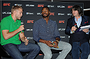 LONDON, ENGLAND - AUGUST 03:  Alex Gustafsson (L), Jon Jones and Gareth Davies at the Paramount Club during the Jon Jones and Alex Gustafsson Press Tour of London on August 3, 2013 in London, England.  (Photo by Christopher Lee/Zuffa LLC/Zuffa LLC via Getty Images)
