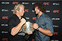 LONDON, ENGLAND - AUGUST 03:  Petrus Du Plessis and Jacques Burger at the Paramount Club during the Jon Jones and Alex Gustafsson Press Tour of London on August 3, 2013 in London, England.  (Photo by Christopher Lee/Zuffa LLC/Zuffa LLC via Getty Images)