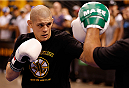 BOSTON, MA - AUGUST 14:  Joe Lauzon holds an open training session for fans and media inside TD Garden on August 14, 2013 in Boston, Massachusetts. (Photo by Josh Hedges/Zuffa LLC/Zuffa LLC via Getty Images)