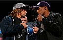 BOSTON, MA - AUGUST 15:  (L-R) Opponents Urijah Faber and Iuri Alcantara face off during a UFC press conference at the Wang Theatre on August 15, 2013 in Boston, Massachusetts. (Photo by Josh Hedges/Zuffa LLC/Zuffa LLC via Getty Images)